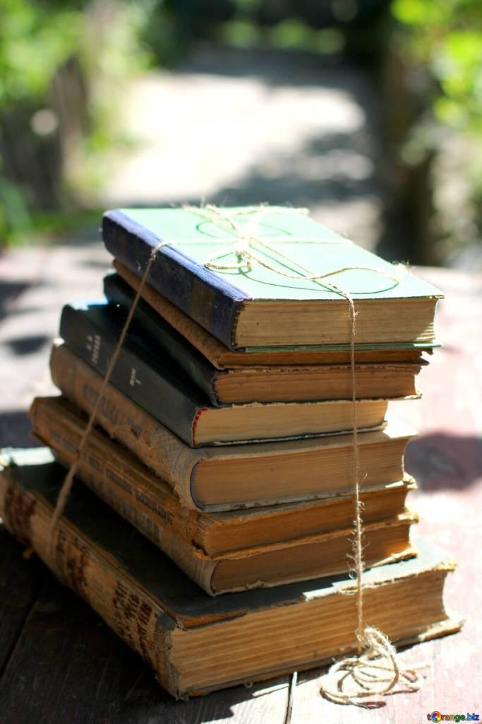 Buecherstapel zusammengebunden, im Hintergrund eine mit Büschen gesäumte Randstraße  Free picture (Books clipart) from https://torange.biz/books-clipart-34847